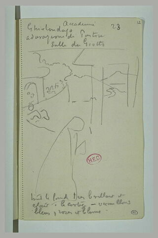 Esquisse de paysage et notes manuscrites