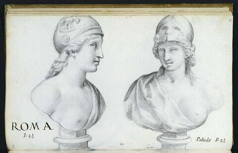 Deux bustes représentant l'un 'ROMA' ; l'autre 'PALLADE'