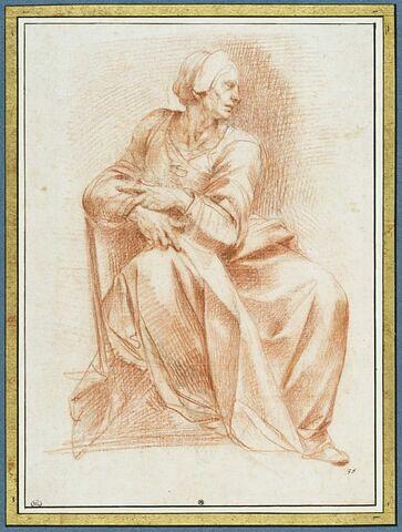 Femme assise, tournée vers la droite : la Sibylle d'Erythrée
