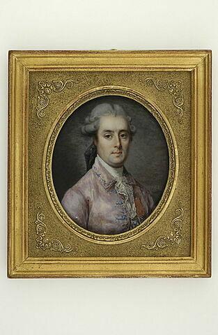 Portrait d'Armand Scipion Urbain, Marquis de Pujol (1736-1781), en buste, de 3/4 à droite, en perruque poudrée à deux cadenettes et coiffé en queue, en habit rose, décoré de l'ordre de Saint Louis.