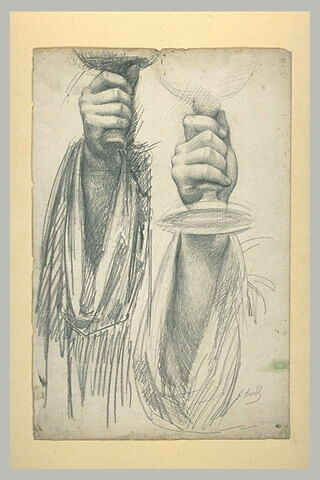 Etudes d'une main tenant un calice : la main de saint Hyacinte