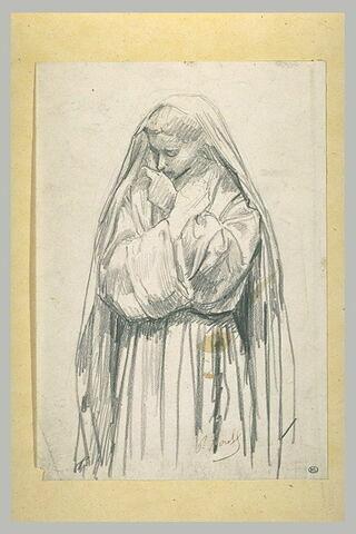 Femme voilée les bras croisés sur la poitrine : sainte Claire