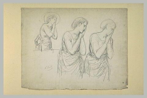 Trois études pour une sainte les mains posées contre la joue