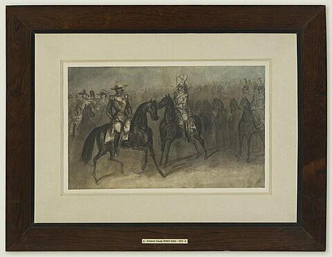Napoléon III à cheval passant une revue