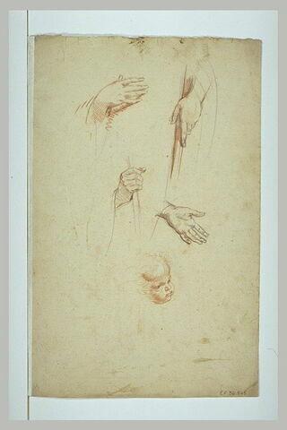 Tête d'enfant jouflu, et quatre mains