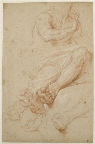 Homme assis, le buste tourné vers la droite et études de jambes