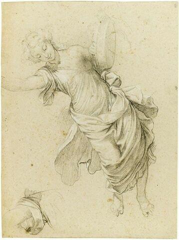 Figure allégorique planant dans les airs avec une corbeille