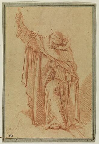 Religieux de face, penché en avant, la main droite levée
