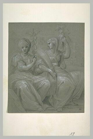 Deux femmes, l'une tenant le caducée de Mercure, l'autre une gerbe de blé