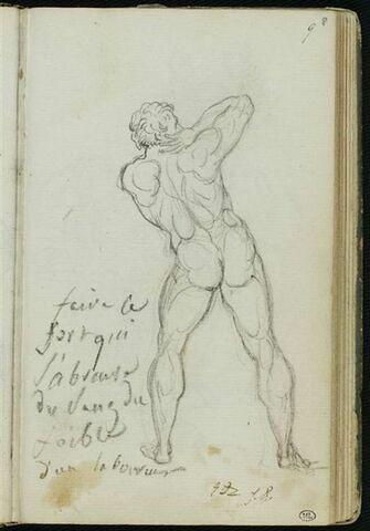 Etude d'homme nu, de dos et notes manuscrites
