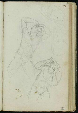 Un homme nu, tenant un parapluie, et un homme nu, les mains près de la tête