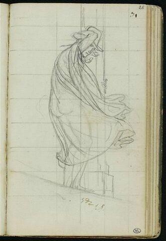 Homme revêtu d'un grand manteau, agrippé à une colonne