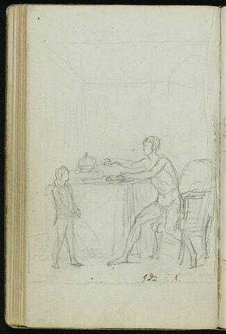 Jeune enfant devant une table, près de laquelle un homme est assis