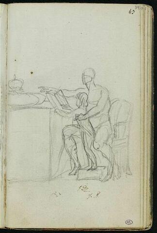 Homme nu, assis, et un enfant, devant une table supportant une couronne