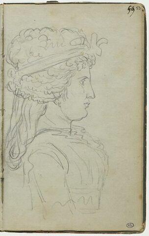 Femme vue en buste, de profil à droite, un ruban dans les cheveux