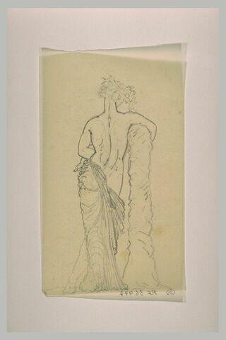 Ménade tenant l'enfant Bacchus dans ses bras, vu de dos