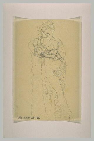 Ménade tenant l'enfant Bacchus dans ses bras, vu de face