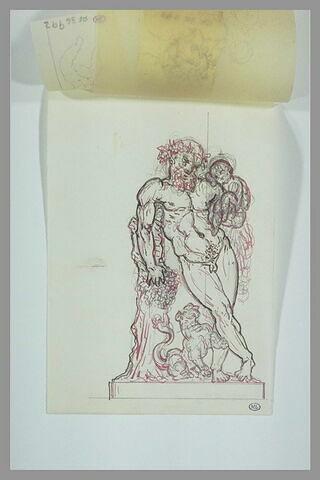 Silène appuyé à un tronc d'arbre, tenant le jeune Bacchus