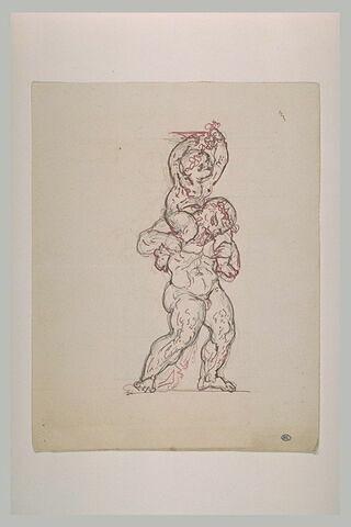 Silène portant le jeune Bacchus sur ses épaules et s'avançant vers la droite