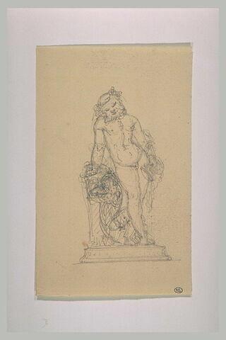 Silène tenant une coupe dans la main gauche et veillant sur  Bacchus
