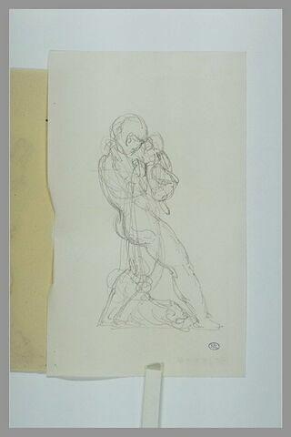 Silène tenant l'enfant Bacchus de profil à droite