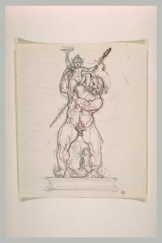 Silène portant le jeune Bacchus brandissant une coupe et le thyrse