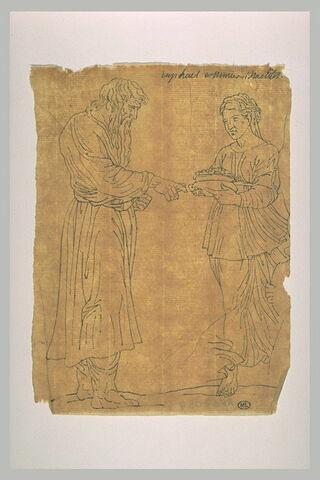 Homme barbu drapé, debout ; femme drapée, debout, portant un vase