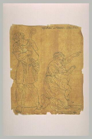 Un berger debout de trois quarts ; une femme agenouillée tenant un enfant
