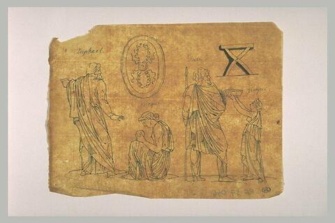 Personnages drapés à l'antique, bouclier, tabouret