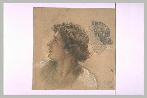 Tête d'adolescent aux cheveux bouclés, de trois quarts, à gauche
