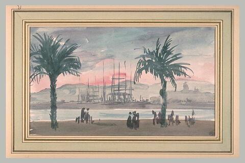 Paysage méditerranéen encadré de deux palmiers