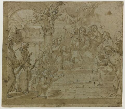 Vierge à l'Enfant avec les Vertus théologales, entourée de saints
