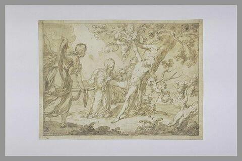 Saint Sébastien secouru par sainte Irène et un ange