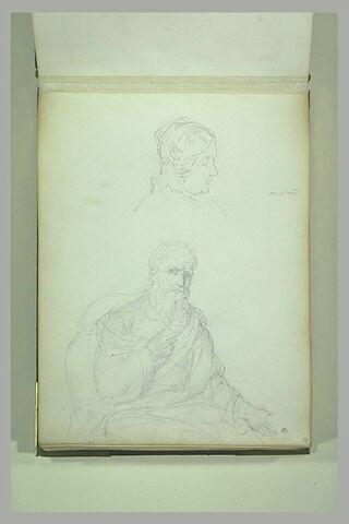 Tête de femme de profil, et portrait d'homme âgé, assis