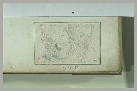 Jeune femme et jeune garçon, vus en buste