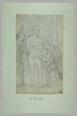 Préparatifs d'une exécution : un bourreau lie les mains d'un homme