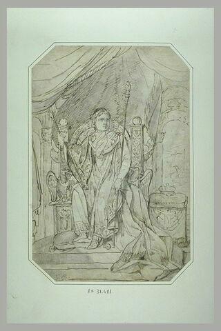 Napoléon Ier revêtu des habits impériaux, sur son trône