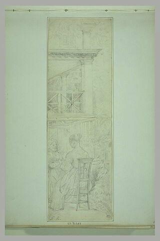 Deux femmes conversant près d'une maison à portique