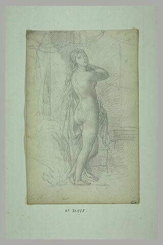 Jeune femme nue, tête de face, longue chevelure