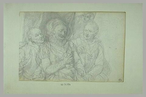 Mort de Henri IV : le roi est entouré de trois personnages