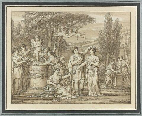 Personnages se tenant près de l'autel de l'Amour
