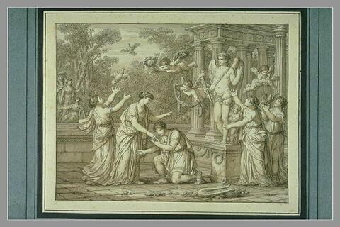 Un jeune homme, genou à terre, baise la main d'une jeune fille, debout