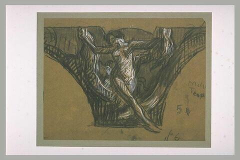 Femme nue, debout, les bras écartés, tenant une draperie