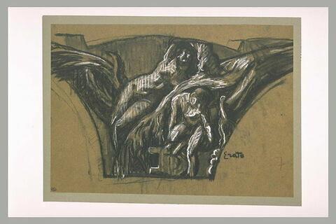 Femme allongée et une figure assise de part et d'autre d'un arbre : Erato