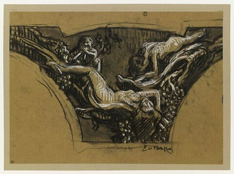 Etudes de personnages allongés et d'une figure accroupie : Euterpe