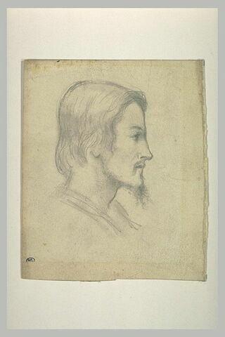 Tête d'homme, de profil à droite, barbiche au menton