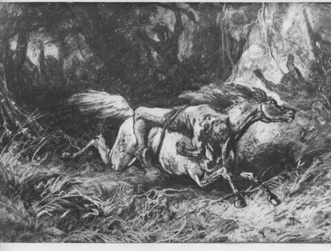 Mazeppa américain ou Simon Butler, homme lié sur un cheval qui galope
