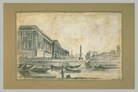 Vue de la colonnade du Louvre avec un obélisque, des berges de la Seine