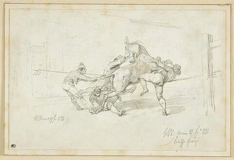 Paysans romains maîtrisant un cheval