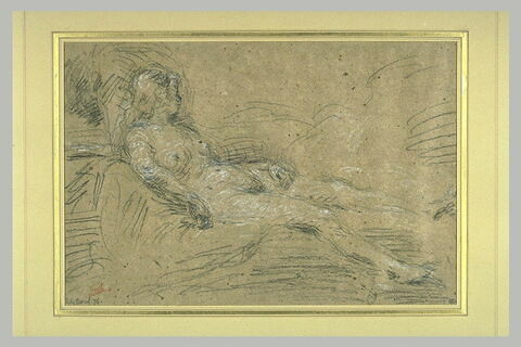 Femme nue, couchée sur un lit